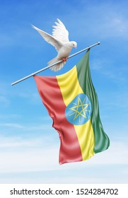 Ethiopia flag on a pole is carried by a bird while flying against a blue sky background - 3D illustration.