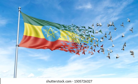 Ethiopia flag on a pole turn to birds while waving against a blue sky background - 3D illustration.