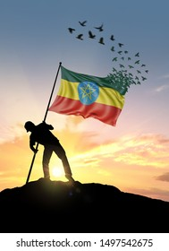 Ethiopia flag turn to birds while being planted by a man on a hill during sunrise.