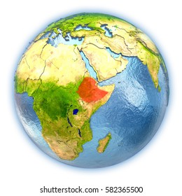 Ethiopia highlighted in red on 3D globe with detailed planet surface and blue watery oceans. 3D illustration isolated on white background. Elements of this image furnished by NASA.