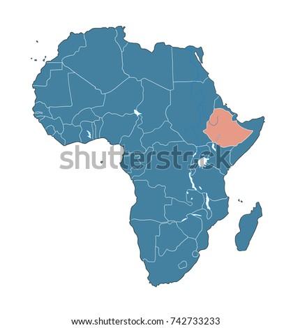 Ethiopia On African Map Stock Illustration 742733233 - Shutterstock