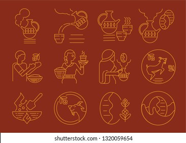 Ethiopian local coffee culture icon design with goat,farmer,pan roasting,fire and jug vector illustration