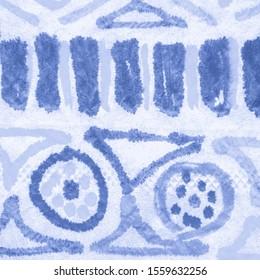 Ethnic Abstract Print. Indigo Peru Ornament. Mexico Embroidery. Marine Weaving Texture. Sky Abstract Ethnic Print. Indigo National Pattern. Seaside Embroidery Mexico. Stitching Texture.