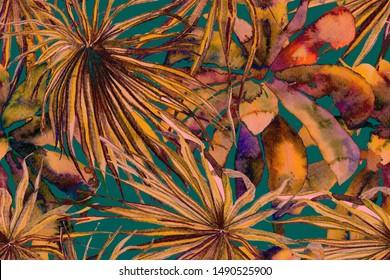 Ethnic Aloha Rapport. Exotic Foliage Bikini Background.  Tropical Seamless Pattern. Watercolor Horizontal Tropic Design. Palm Geometric Swimwear Pattern. Turquoise Green Palm Leaves Fun Texture.