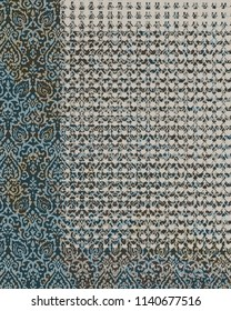 ethnic background in grunge style. navy, green, beige and blue watercolor stains. Handmade. Patchwork pattern drawn by hand. Tribal motifs.