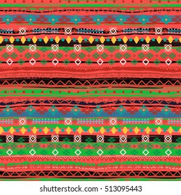 Ethnic boho seamless pattern. Tribal art, colorful ethno print. Background texture, wrapping, wallpaper