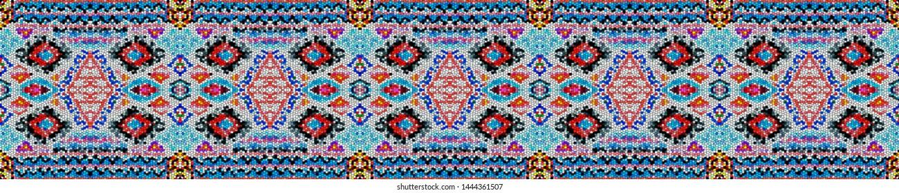 Ethnic embroidery. Seamless aztec pattern. Retro folk design. Tribal decorative print. Vintage style. Folk design. Boho fashion. White, blue, pink, yellow, red ethnic embroidery.