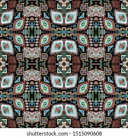 Ethnic embroidery. Seamless aztec pattern. Embroidered endless print. Tribal texture. Indian texture. Mexican style. Navajo motif. Black, cyan, pink, green, gold ethnic embroidery.