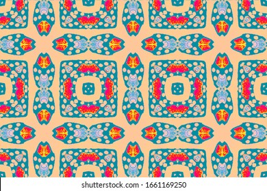Ethnic Embroidery. Tribal Decorative Style. Tile Seamless Pattern. Inca Fashion Illustration. Seamless Tie Dye Pattern. Zigzag Illustration.
