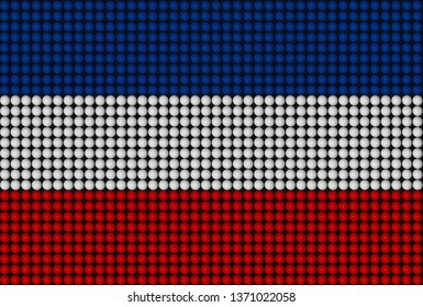 Ethnic flag of the Slavs formed from a grid of spheres (3D rendered illustration)