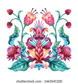 ethnic floral ornament, red green folklore motif isolated on white background, square botanical kerchief design, traditional embroidery pattern, modern boho fashion print, watercolor illustration