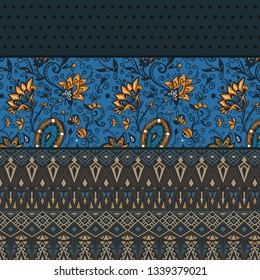 Ethnic floral pattern with american indian traditional ornament in brown colors. Tribal background. Aztec design for fabric. Print of native american ar