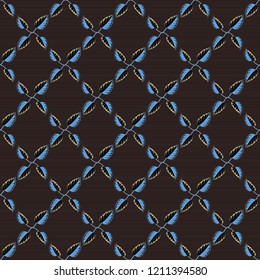 Ethnic floral seamless pattern in black, gray and brown colors.