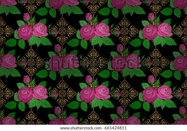 Ethnic floral seamless pattern on a black background with decorative rose flowers and green leaves. Raster illustration.