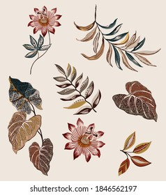 Ethnic flowers and leaves vintage set for seamless pattern texture, composed by folkloric colorful antique ethnic tropical leaves and exotic flowers on beige background.