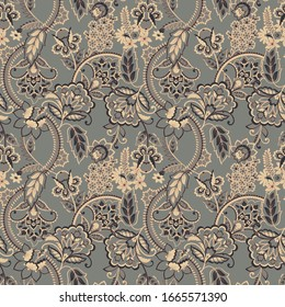 Ethnic flowers seamless pattern. floral vintage background