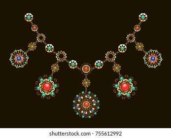 Ethnic gold necklace with semiprecious gems, carnelian, turquoise, lapis lazuli, gems on black background.