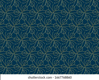 Ethnic gold striped pattern with dark blue background