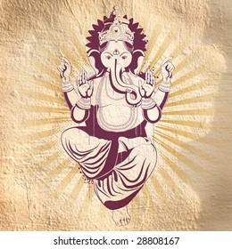Ethnic image with indian idol on he wall