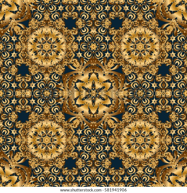 Ethnic Indian folklore. Abstract seamless patchwork background with blue and golden ornaments, geometric Moroccan seamless pattern. Stylized golden stars, snowflakes and grids.