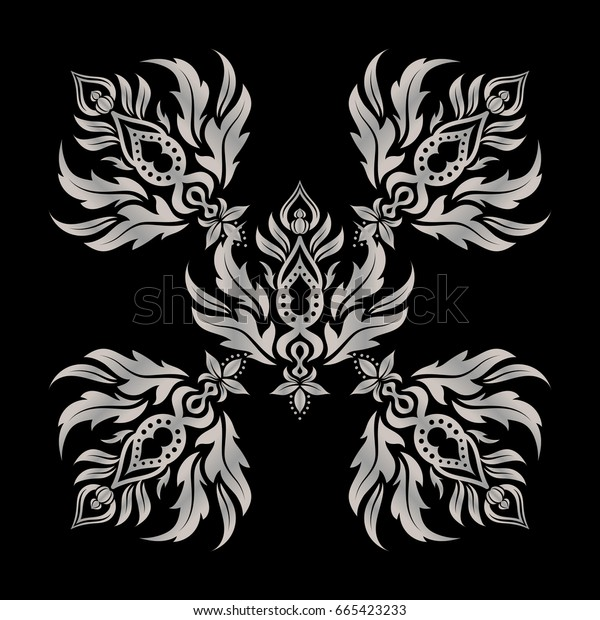Ethnic Indian folklore. Abstract seamless patchwork background with black and gray ornaments, geometric Moroccan seamless pattern. Stylized stars, snowflakes and grids.