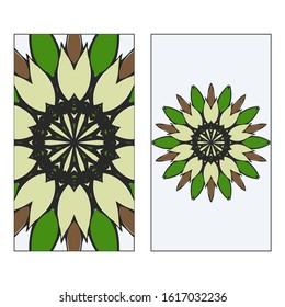 Ethnic Mandala Ornament. Templates invitation card With Mandalas. Floral decoration.  illustration/ Green, brown color. Card Design For Banners, Greeting Cards, Gifts Tags