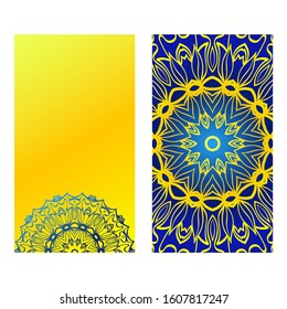Ethnic Mandala Ornament. Templates With Mandalas.  Illustration For Congratulation Or Invitation. The Front And Rear Side. Yellow blue color.