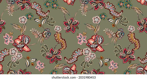 ethnic motif seamless pattern fabric texture print repeated. colorful vintage antique illustration folkloric. floral elements abstract, branches, plants. military color green background.