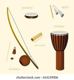Ethnic musical instruments for capoeira. Pandeiro, agogo, reco-reco, berimbau, atadaque.