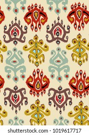 Ethnic ornament ikat of the peoples of Asia bright colors for embroidery or printing., ikat.