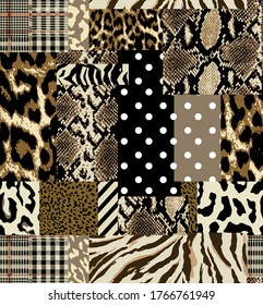 ethnic patchwork design with snake and leopard motifs