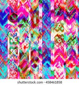 Ethnic pattern handicraft background. Watercolor textures for decorative design.