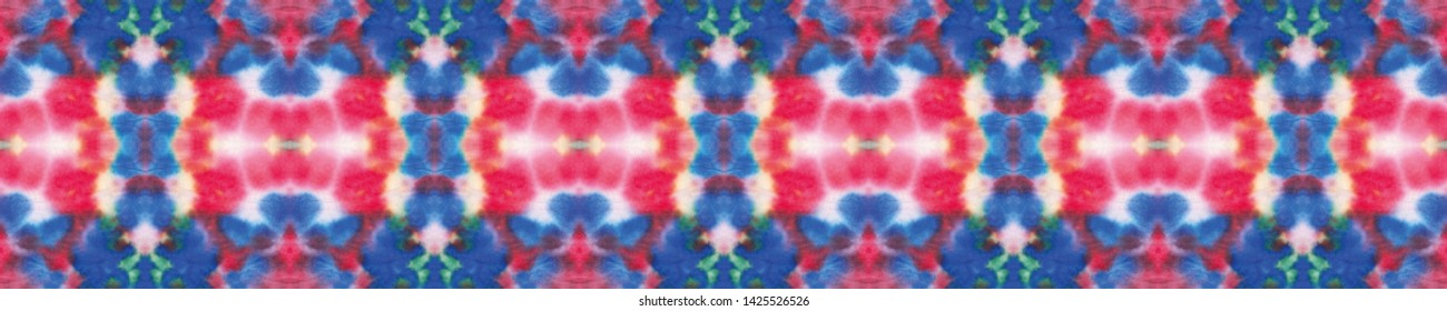 Ethnic print. Crumpled paper. Bright rainbow canvas. Tunisian textile, natural ceramic. Faience seamless border. Trendy Ikat decor, wave theme.