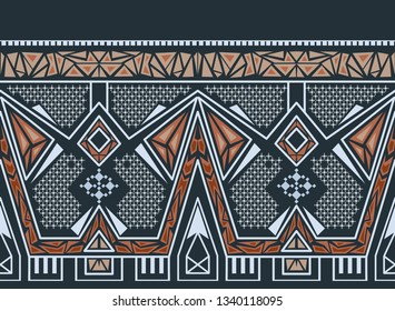 Ethnic seamless pattern with american indian traditional ornament in turquoise and red colors. Tribal background. Aztec design for fabric. Print of native american art.