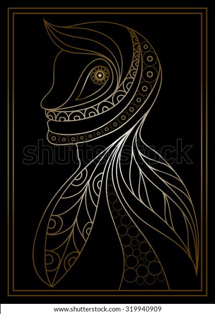 Ethnic stylized patterned profile of man.  Floral design. Suitable for print, web,  poster, t-shirt.