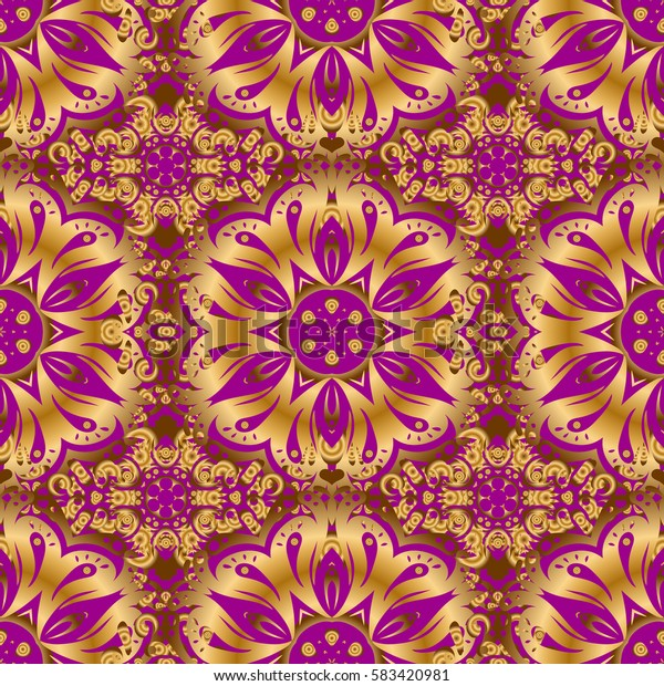 Ethnic and tribal motifs. Bright seamless pattern with geometric ornament in Christmas traditional colors (golden on purple). Colorful abstract background. Ornamental vivid wallpaper.