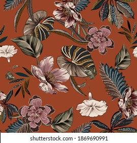 Ethnic vintage flowers and leaves abstract folkloric seamless pattern illustration. Fabric print texture wallpaper, with floral and antique leaves ethnic elements. Crock color background.