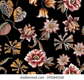 Ethnic vintage flowers and leaves with branch and plants seamless pattern texture repeated fabric folkloric damask. Motif batik floral elements, with tulip, lily, peony, wild flowers and  leaves leaf.