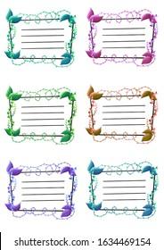 Etichette tag foglie colori illustrazione
