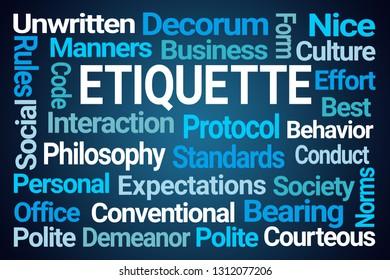 Etiquette Word Cloud on Blue Background
