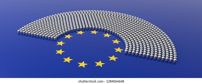 EU election. European Union parliament seats and yellow stars circle on blue background, banner. 3d illustration
