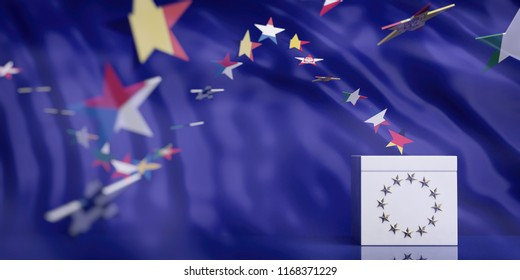 EU elections concept. White ballot box on European Union flag abstract background. 3d illustration