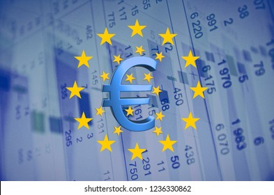 EU flag and Euro sign with stars, financial data visible on the background.
