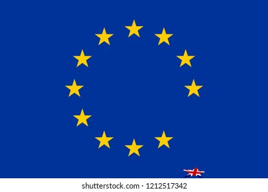 "EU flag with UK ""star"" fallen onto the base/floor indicating the concept of Brexit."