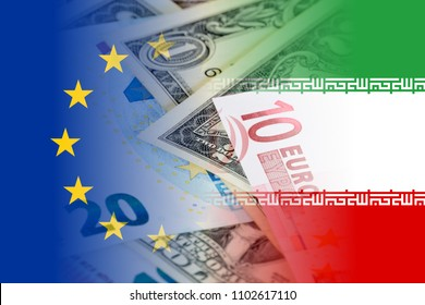 eu and iran flags with euro and dollars banknotes mixed image
