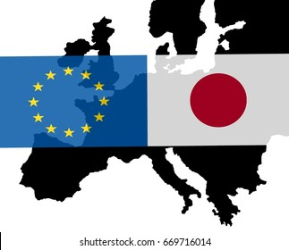 EU - Japan relationship  The flags of Japan and Europe lie over a map of Europe