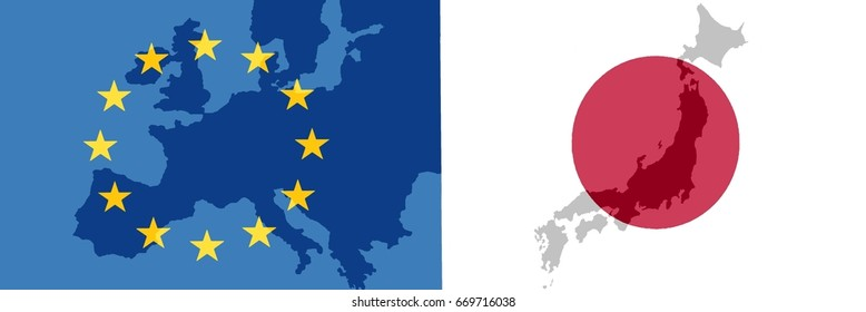 EU - Japan relationship - The flags of Japan and Europe each with a translucent map of the country