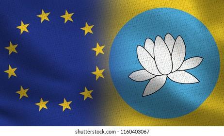 EU and Kalmykia Realistic Half Flags Together - European Union