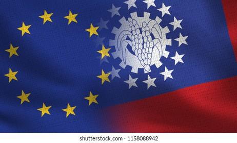 EU and Myanmar Burma Realistic Half Flags Together - European Union