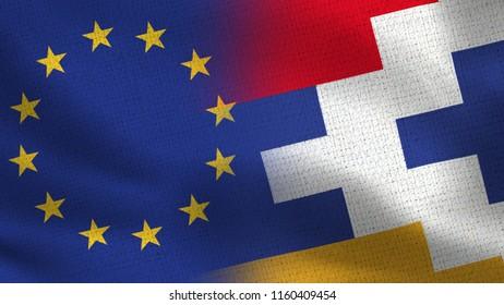 EU and Nagorno Karabakh Republic Realistic Half Flags Together - European Union